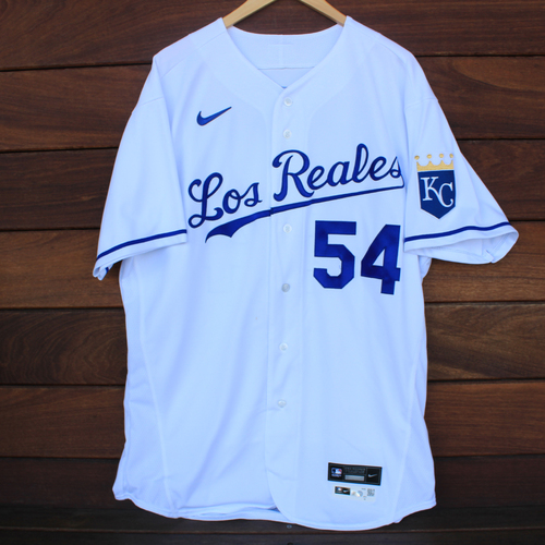 Photo of Game-Used Los Reales Jersey: Ervin Santana #54 (SEA@KC 9/17/21) - Size 48