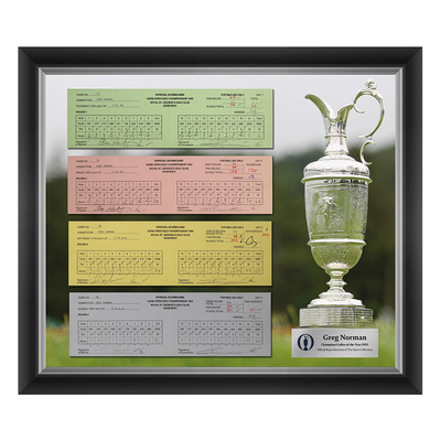 Photo of 1 of 200 L/E Greg Norman, Champion Golfer of Year, The 122nd Open 1,2,3 and Final Round Scorecard Reproductions Framed