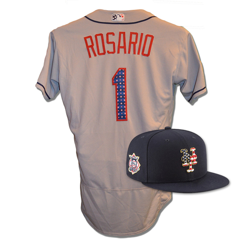 Photo of Amed Rosario #1 - Game Used 4th of July Jersey and Hat - Mets vs. Blue Jays - 7/4/18