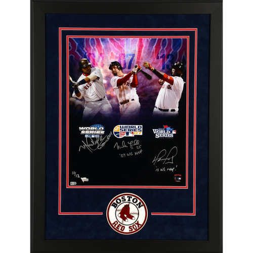 "Photo of David Ortiz, Mike Lowell and Manny Ramirez Deluxe Framed Autographed 16"" x 20"" World Series MVP's  Photo with MVP Inscriptions - L.E. of 12"