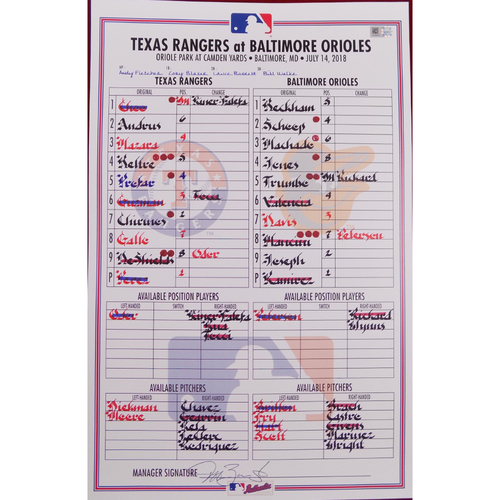 Photo of Rangers at Orioles - 7/14/18 - Game-Used LineUp Card