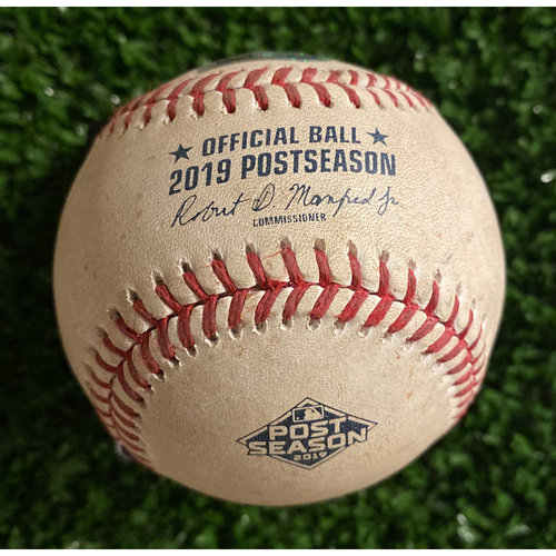Photo of Game Used Baseball - Pitcher: Max Fried, Batter: Marcell Ozuna, Foul. 10/9/19 - Top of 1st Inning