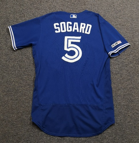 Photo of Authenticated Game Used Jersey - #5 Eric Sogard (Jun 11, 19: 2-for-4 with 1 HR, 1 Run and 1 RBI). Size 44.