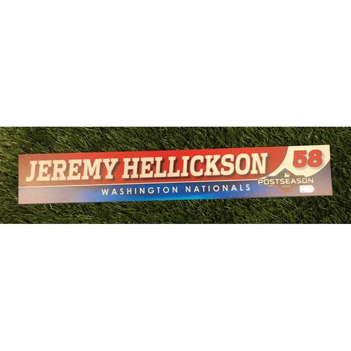 Photo of Game-Used Jeremy Hellickson 2019 Postseason Locker Tag