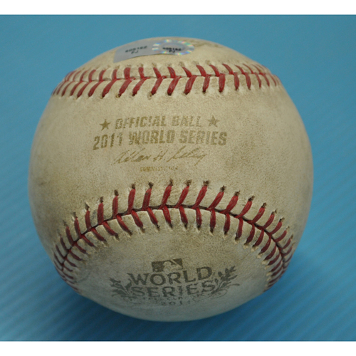 Photo of Game-Used Baseball - 2011 World Series - St. Louis Cardinals vs. Texas Rangers - Bottom of 6th Inning - Batter - Albert Pujols, Pitcher - Colby Lewis - Fouled Back to Screen - Game 2 - 10/20/2011