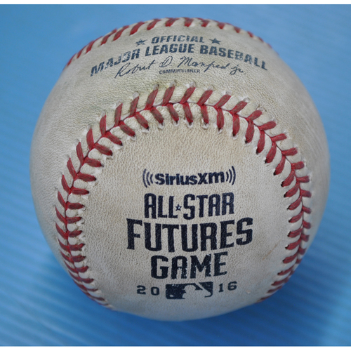 Photo of Game-Used Baseball - 2016 All-Star Futures Game - Pitcher: Angel Perdomo, Batter: Alex Bregman - 3rd Inning - Double