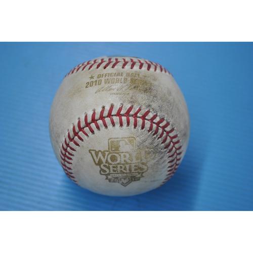 Photo of Game-Used Baseball - 2010 World Series - Game 2 - Pitcher: Matt Cain, Batter - Mitch Moreland - Single - 3rd Inning