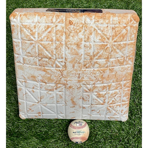 Photo of Game Used Base and Baseball Package: Dusty Baker's 1906th Win as a Manager - Moves to 12th All-Time on Wins List Passing Casey Stengel - April 30, 2021 v HOU (See Description for Details)