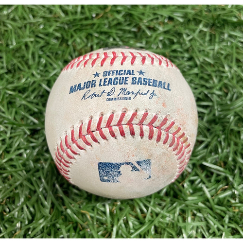 Photo of Game Used Baseball: Yandy Diaz GAME WINNING RBI fielder's choice off Emmanuel Clase - Randy Arozarena Scores - Emmanuel Clase Pitch Speeds (101.2MPH, 100.2MPH, 100.1MPH) - Bottom 9 - July 5, 2021 v CLE