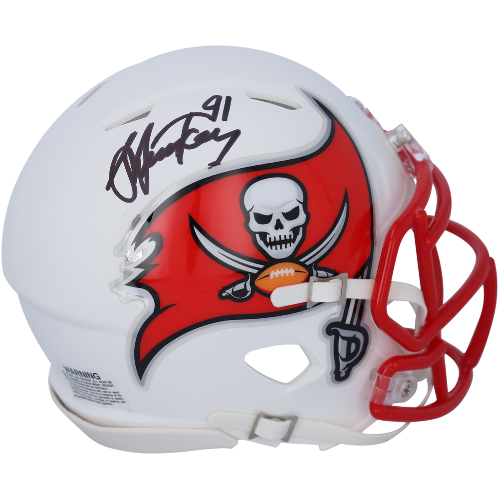 Steven Stamkos Tampa Bay Lightning Autographed Tampa Bay Buccaneers Flat White Alternate Revolution Speed Mini Helmet - NHL Auctions Exclusive