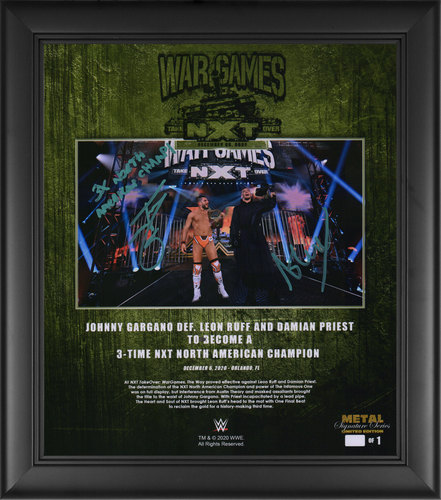 Photo of Johnny Gargano and Austin Theory SIGNED NXT TakeOver WarGames 2020 Signature Series Plaque (#1 of 1)