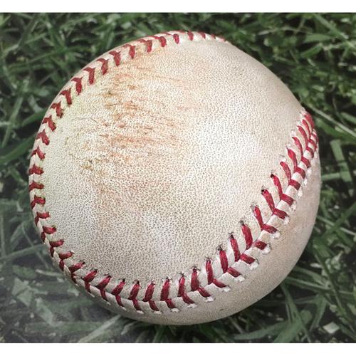 Photo of Game-Used Baseball ATL@MIL 10/09/21 (NLDS Game 2) - Brandon Woodruff - Jorge Soler: Double (Soler's 12th Career Postseason Hit, 1st of 2021)