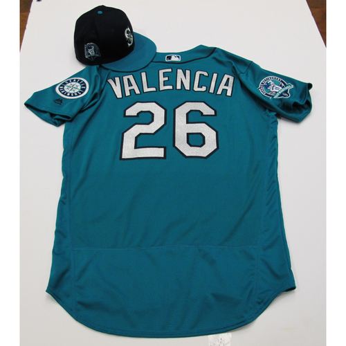 Photo of Danny Valencia Green Game-Used Jersey & Cap With Edgar Martinez Patch 8-11-2017 - Sizes: Jersey - 46, Cap 7 3/8