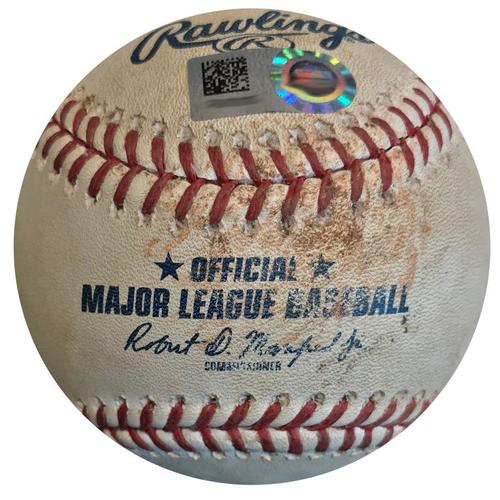 Photo of Game-Used Baseball from Pirates vs. Cubs on 5/29/18 - Lester to Kingham, Hit by Pitch