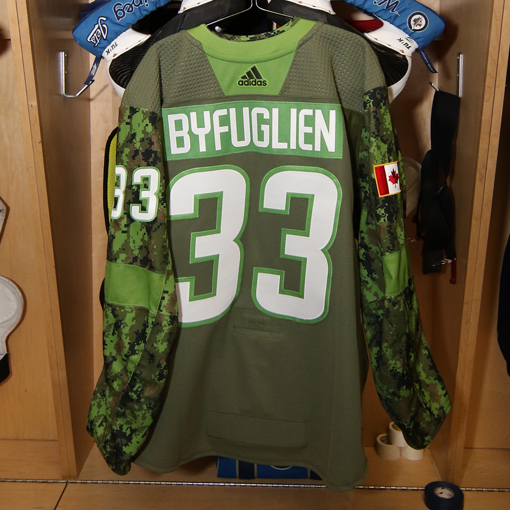DUSTIN BYFUGLIEN (A)  Warm Up Worn Canadian Armed Forces Jersey - Winnipeg Jets