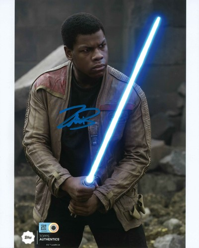 John Boyega as Finn 8x10 Autographed in Blue Ink Photo at the Battle of Takodana