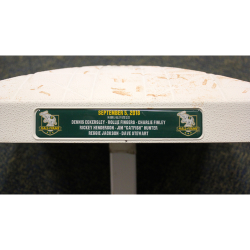 Photo of Game-Used 2nd Base (Innings 7-9) - 9/5/18 vs. NYY - Inaugural A's HOF Induction Names Included
