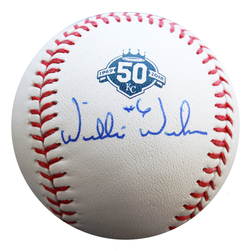 Photo of Autographed 50 Seasons Baseball: Willie Wilson