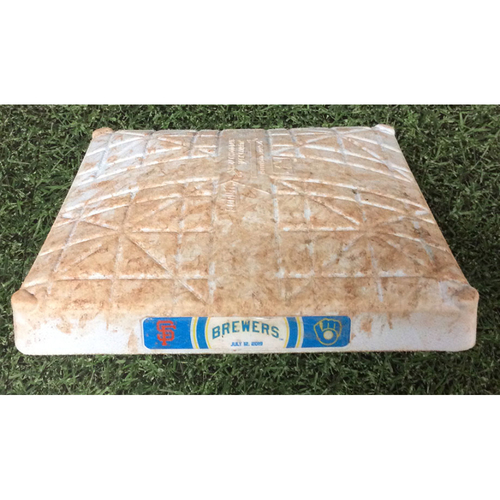 Photo of Game-Used 1st Base (INN 1-10) SF@MIL 07/12/19 - Buster Posey Go-Ahead, 10th Inning Grand Slam