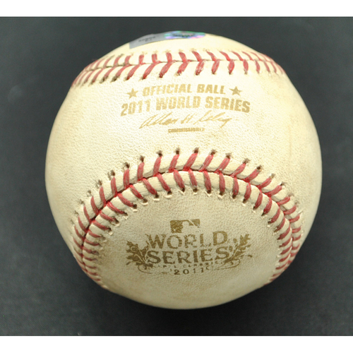 Photo of Game-Used Baseball - 2011 World Series - St. Louis Cardinals vs. Texas Rangers - Batter - Rafael Furcal, Pitcher - CJ Wilson - Strikeout Swinging - Bottom of 3 - Game 1 - 10/19/2011