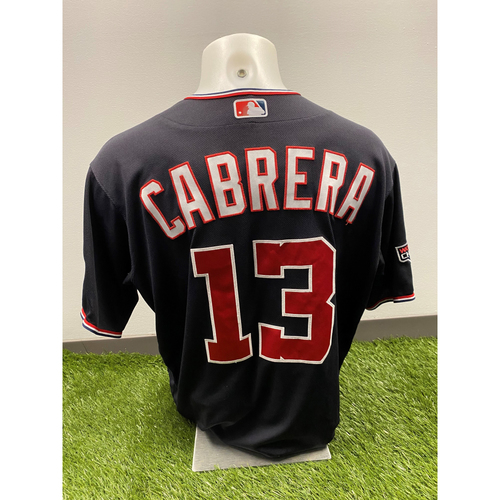 Photo of Asdrubal Cabrera 2020 Game-Used World Series Champions Navy Script Jersey