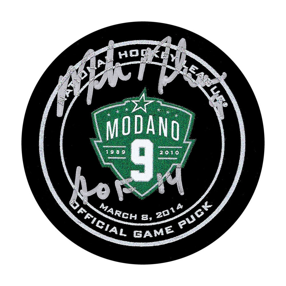 Mike Modano Autographed Dallas Stars Modano Night Official Game Puck w/HOF 2014 Inscription