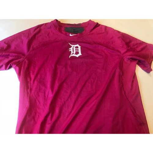 Photo of Team-Issued Detroit Tigers #34 Pink Nike Dri Fit Shirt