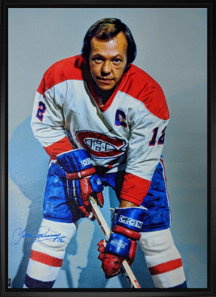Yvan Cournoyer Signed 20x29 Canvas Framed - Canadiens White, Posing