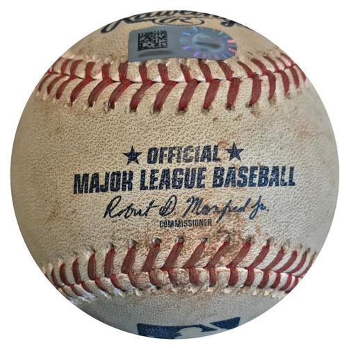 Photo of Game-Used Baseball from Pirates vs. Cubs on 5/30/18 - Moran Single, Heyward Throws Out Dickerson at Home