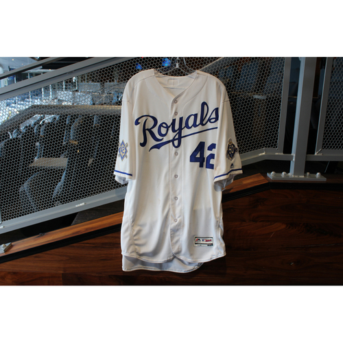 """Photo of  Seller logo Game-Used """"42"""" Jersey: Salvador Perez (Size 48 - LAA @ KC - 6/25/18 Makeup Game)"""