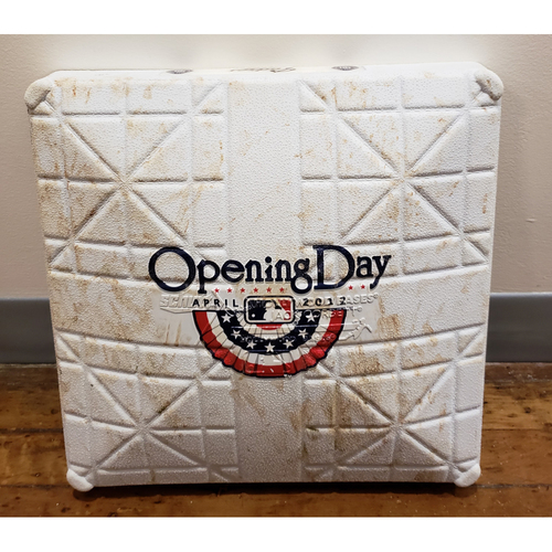 Photo of Game-Used Opening Day Base: Los Angeles Dodgers at San Diego Padres - 1st Base Used in Innings 1-3 - 4/5/12