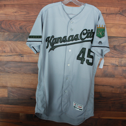 Photo of Game-Used Memorial Day Jersey: Abraham Almonte (Size 46 - KC @ TEX - 5/27/18)