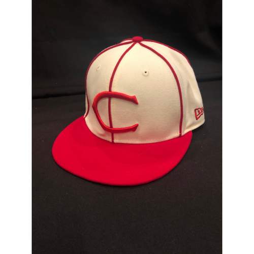 Photo of Derek Dietrich -- Game-Used Cap -- 1912 Throwback Game (Pinch-Hit: Went 1-for-1, HR, RBI, R) -- Dodgers vs. Reds on May 19, 2019