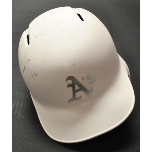 "Photo of Josh ""PTBNL"" Phegley Oakland Athletics Game-Used 2019 Players' Weekend Helmet"