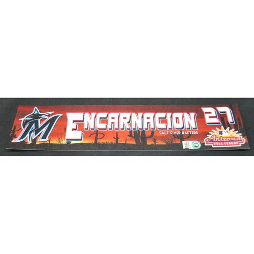 Photo of Arizona Fall League - Game-Used Locker Tag - Jerar Encarnacion (MIA), Jersey Number: 27