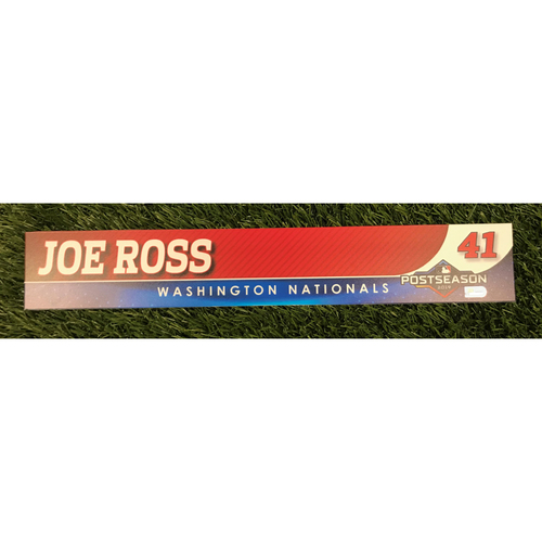 Photo of Game-Used Joe Ross 2019 Postseason Locker Tag