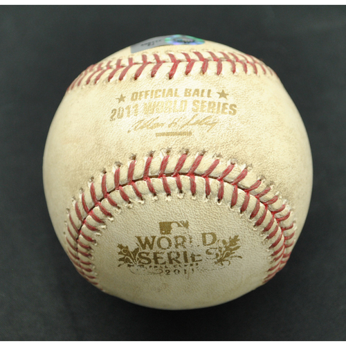 Photo of Game-Used Baseball - 2011 World Series - St. Louis Cardinals vs. Texas Rangers - Batter - David Freese, Pitcher - CJ Wilson - Fouled back to Screen - Bottom of 6 - Game 1 - 10/19/2011