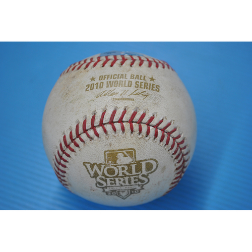 Photo of Game-Used Baseball - 2010 World Series - Game 3 - Pitcher: Jonathan Sanchez, Batter - Michael Young - Grounded into Double Play - 5th Inning