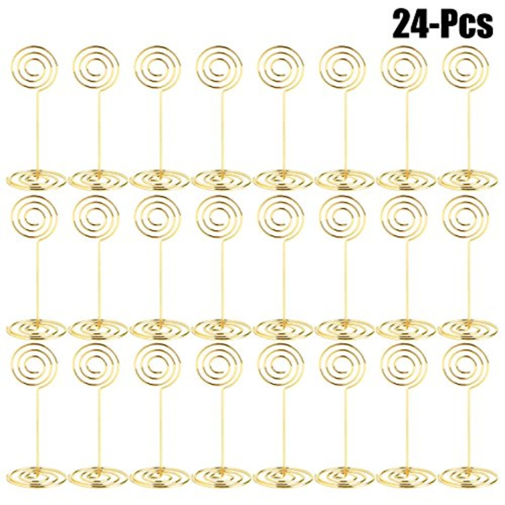 Photo of Outgeek Place Holders, 24PCS Table Number Holder Place Card Holders Desk Card Stand Clips Wire Table Picture Photo Holder Tabletop Postcard Menu Memo Name (Gold 24PCS)