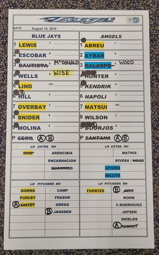 Photo of Authenticated Game Used Lineup Card (August 14, 2010 at LAA): Hideki Matsui goes 4-for-4 with 1 HR