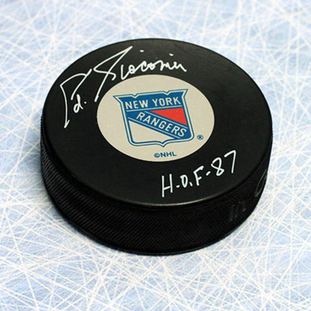 Ed Giacomin New York Rangers Autographed Hockey Puck with HOF Inscription