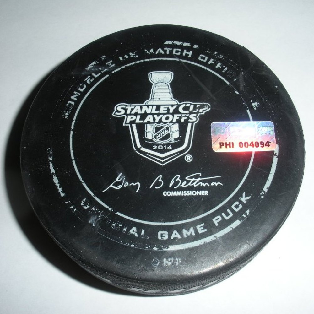 Dominic Moore - New York Rangers - Goal Puck - April 25, 2014 - Eastern Conference First Round, Game 4 (Flyers/Stanley Cup Logo)