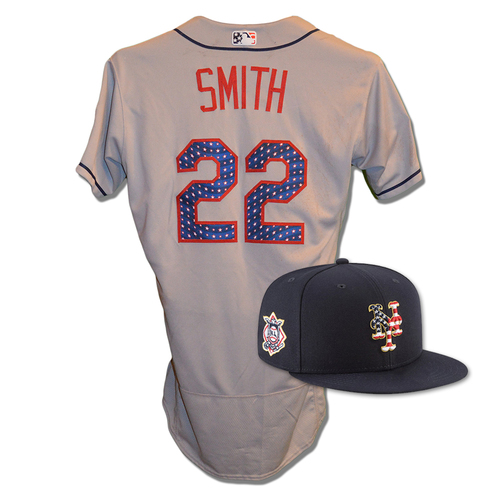 Photo of Dominic Smith #22 - Game Used 4th of July Jersey and Hat - Mets vs. Blue Jays - 7/4/18