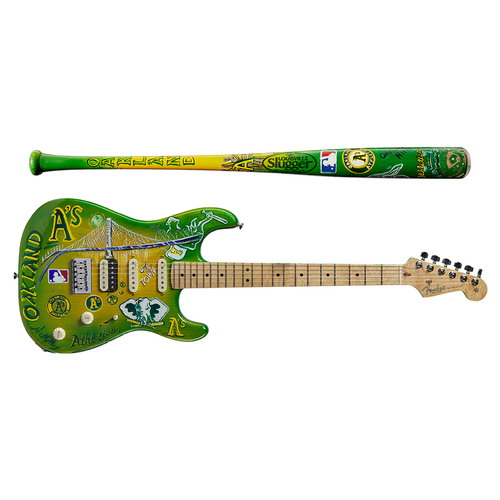 Photo of One-of-a-kind Artist-Painted A's Louisville Slugger Bat and Fender Stratocaster Guitar