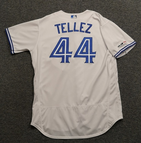 Photo of Authenticated Game Used Jersey - #44 Rowdy Tellez (Used for 5 different HR Games, including Apr 23, 19: 2-for-4 with 1 HR, 1 Double, 2 Runs and 4 RBIs. HR was a Grand Slam). Size 50.