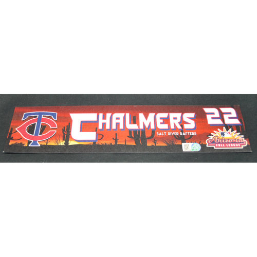 Photo of Arizona Fall League - Game-Used Locker Tag - Dakota Chalmers (MIN), Jersey Number: 22