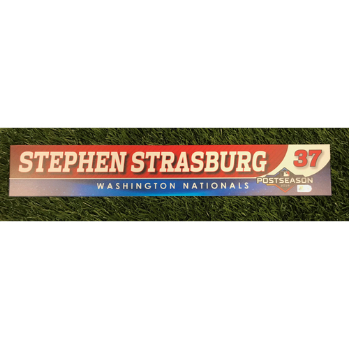 Photo of Game-Used Stephen Strasburg 2019 Postseason Locker Tag