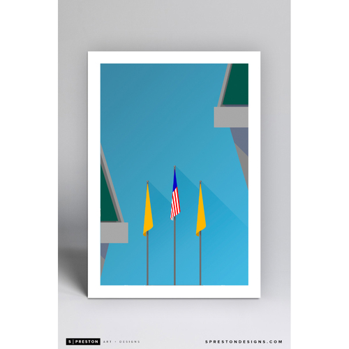 Photo of Oakland Coliseum - Minimalist Ballpark Art Print by S. Preston  - Oakland Athletics