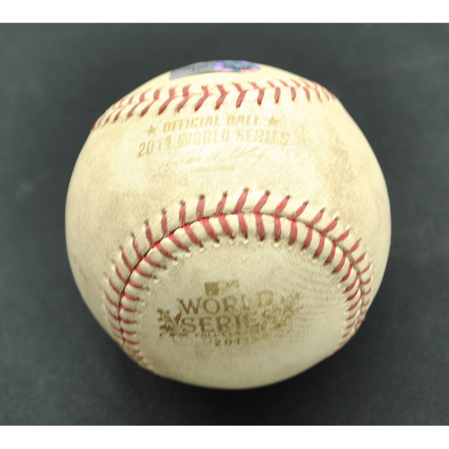 Photo of Game-Used Baseball - 2011 World Series - St. Louis Cardinals vs. Texas Rangers - Batter - Nelson Cruz, Pitcher - Noel Salas - Fouled Back to Screen - Top of 4 - Game 6 - 10/27/2011