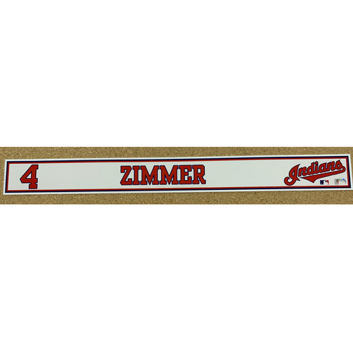 Bradley Zimmer 2020 Spring Training Game-Used Locker Name Plate